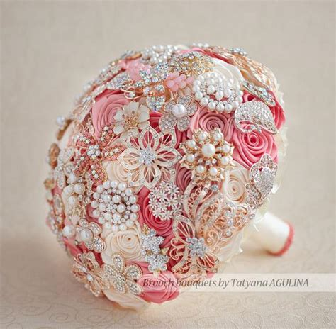 Brooch Bouquet Coral Ivory And Gold Wedding Brooch Bouquet