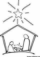 Nativity Christmas Coloring Scene Simple Pages Sketch Easy Jesus Draw Preschool Crafts Printable Stable Template Step Silhouette Pencil Mary Joseph sketch template