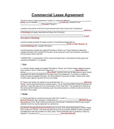Lease Agreement Template 26 Free Commercial Lease Agreement Templates Template Lab