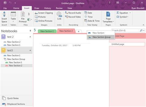 onenote section template getting started with onenote 2016 windows central