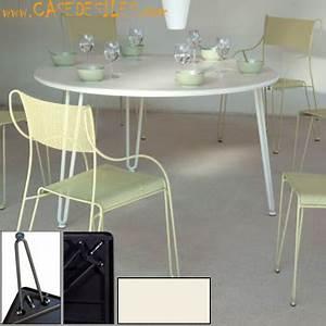 Table Bistrot Pliante : table de bistrot m tal pliante ronde d90 blanc ~ Teatrodelosmanantiales.com Idées de Décoration