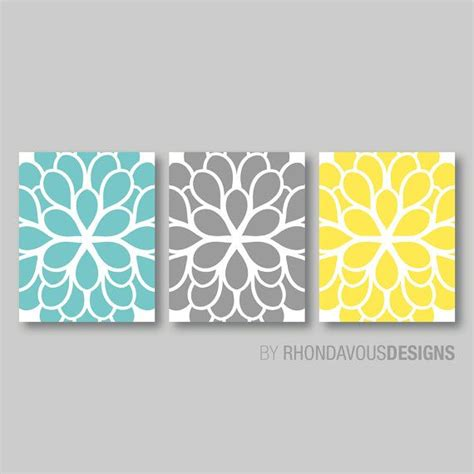 yellow gray and teal bathroom flower wall teal blue yellow gray dahlia flower