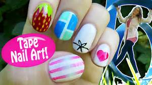 Tape nail art designs ideas using a scotch