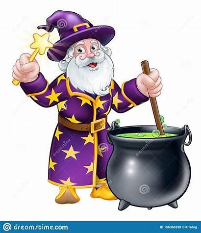 Wizard Cartoon Cauldron Wand Character Magic Pot