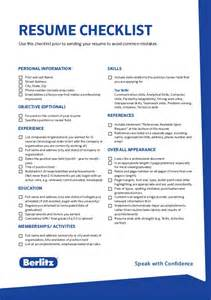 skills checklist resume berlitz tip resume checklist