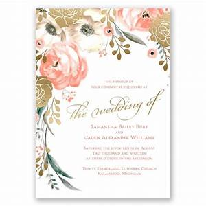 whimsical rose gold foil invitations With wedding invitation designs old rose