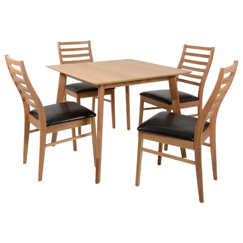 oak dining set square table 4 faux leather chairs kitchen