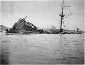 file photograph of the wreckage of the uss maine nara
