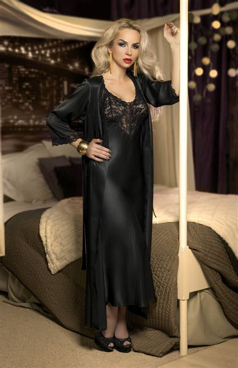 robe de chambre homme soie black satin and lace nightgown w00958