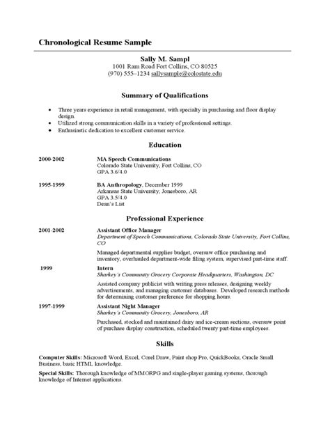 Chronological Resume Template - 6 Free Templates in PDF, Word, Excel Download