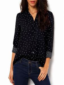 polka dot spotted with buttons blouse sheinsheinside With blouse carreaux femme