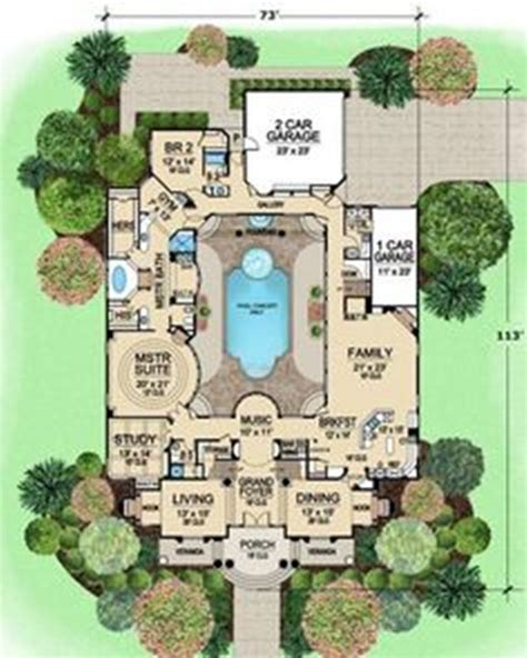 shaped house plans  courtyard pool  ideas