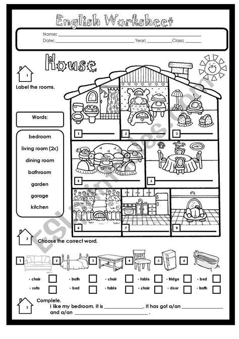 house rooms  furniture esl worksheet  kimwinchester