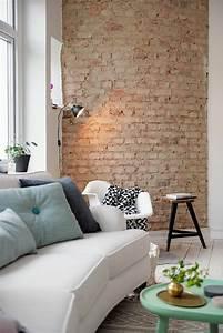 Steinwand Wohnzimmer Ideen : backstein tapete schicke rustikale akzente in der modernen wohnung ~ Sanjose-hotels-ca.com Haus und Dekorationen