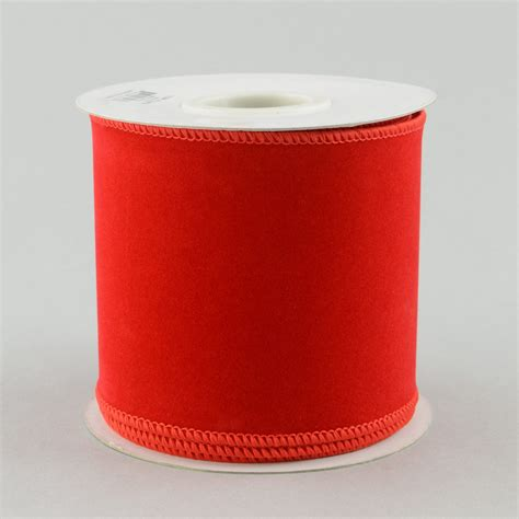4 quot red velvet wired ribbon 10 yards rl144824