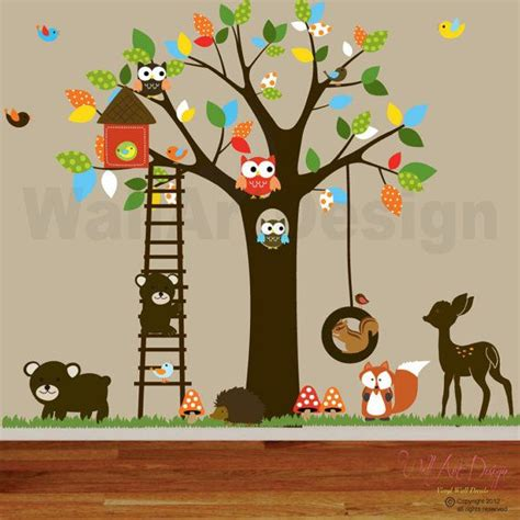 vinyl wall decal stickers swing tree set withowlsbirds