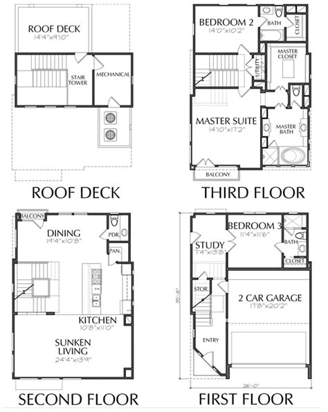 3 story townhouse floor plans 3 story townhouse with clean lines