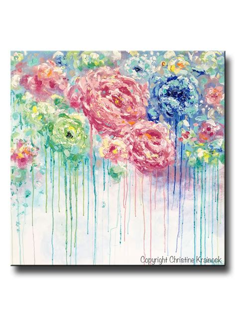 Abstract Black Flower Painting by Original Abstract Painting Flowers Blue White Pink