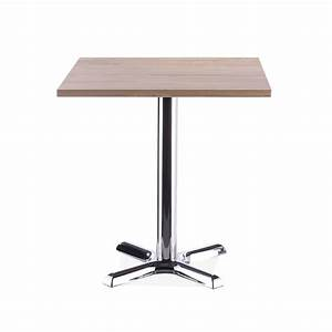 Galant Square Cafe Table Chrome With Natural Finish 70cm