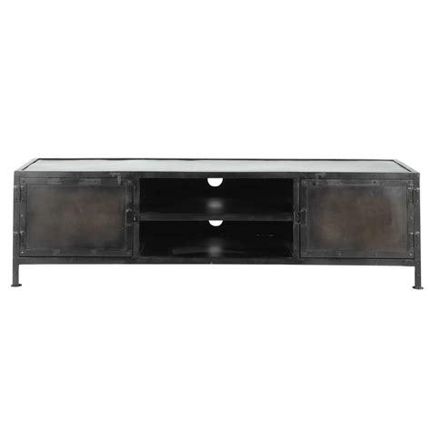 meuble tv indus en m 233 tal noir l 150 cm edison maisons du