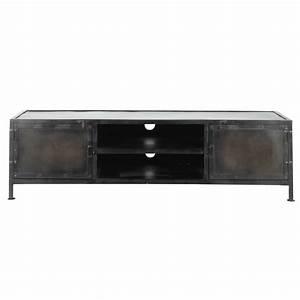 Meuble Tv Metal : meuble tv indus en m tal noir l 150 cm edison maisons du monde ~ Teatrodelosmanantiales.com Idées de Décoration