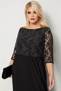 Yours London Black Metallic Lace Maxi Dress  Plus Size 16