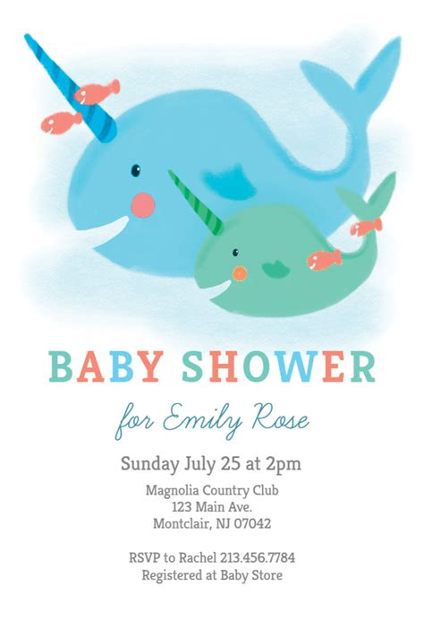 narwhal baby shower invitation template