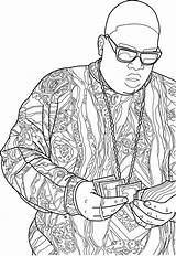 Coloring Pages Biggie Smalls Rap Drawing Notorious Drawings Sheets Printable Adult Tattoo Colouring Books Tattoos Contour Illustrator Bamboo Hip Hop sketch template