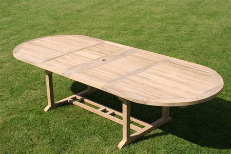 oval extending teak garden dining table parasol
