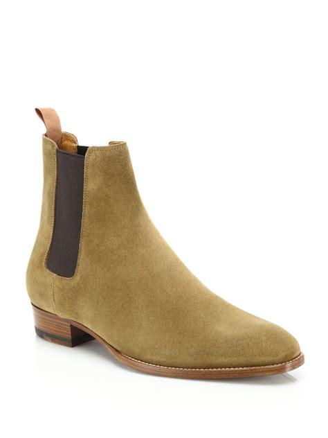 saint laurent suede chelsea boots  brown  men lyst