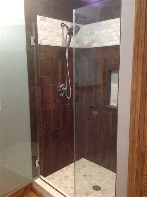 wood tile shower 24 best images about wood tile showers on