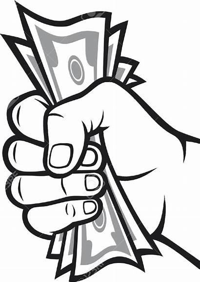 Money Clipart Bag Holding Dinero Drawing Mano