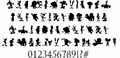 Cartoon Silhouettes Font Character Fonts Waterfall Fontriver