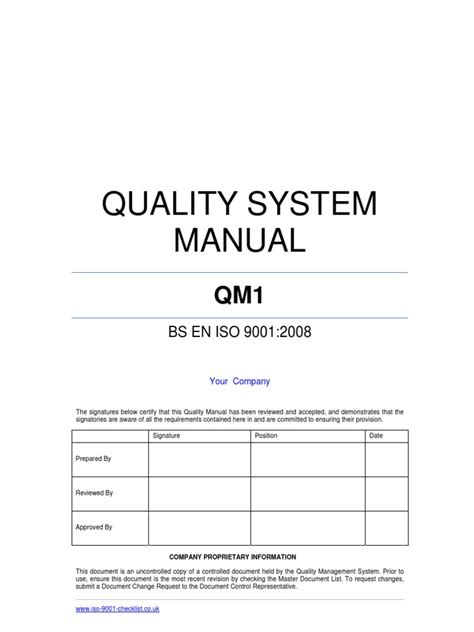 quality manual template  iso  quality