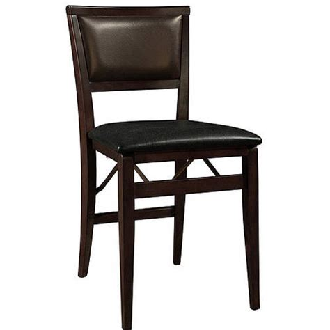 linon keira padded back folding chairs set of 2 espresso