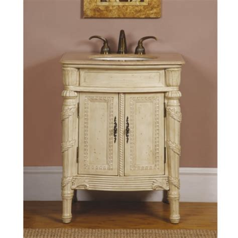 26 inch single sink bathroom vanity in antiqued white with