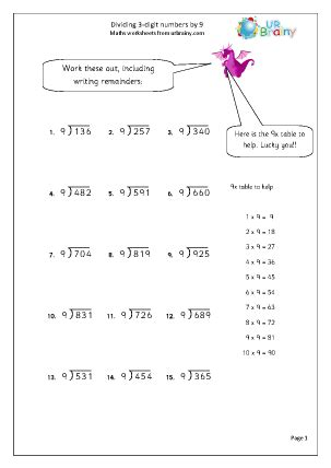 dividing 3 digit numbers by 9