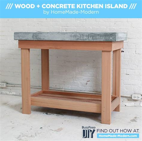 diy kitchen island   concrete countertop