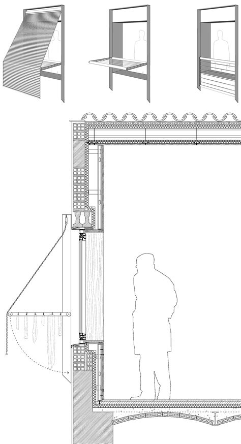 Railing, clothes line and roller blind separation in one