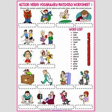 Action Verbs Vocabulary Matching Exercise Esl Worksheets  Esl Printable Vocabulary Worksheets