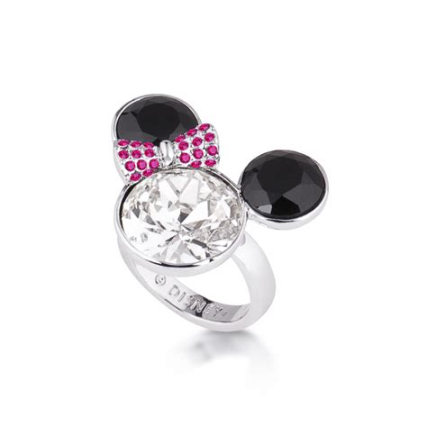 disney minnie mouse rocks white gold plated crystal heart