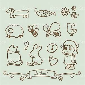 Cute Little Girl Doodle Drawings Stock Illustration ...
