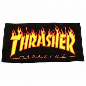 Thrasher Flame Logo Beach Towel - Black - Misc from Native ...