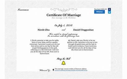 Marriage Ethereum Create Certificate Certificates Blockchain Forevermore