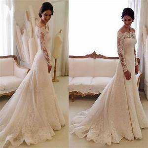 White off the shoulder lace long sleeve bridal gowns for Off white lace wedding dress