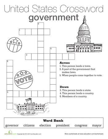 government crossword i heart teaching 4th grade social studies social studies worksheets