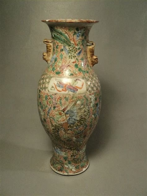 ancien vase porcelaine chine dragon phoenix chinese