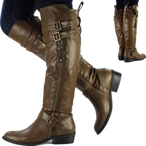 womens brown leather biker boots new womens ladies brown knee high leather style flat low