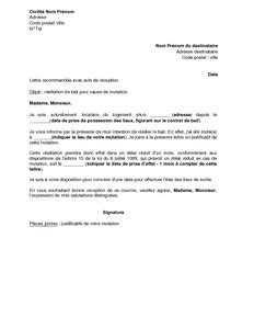 lettre r 233 siliation bail location courrier type r 233 siliation