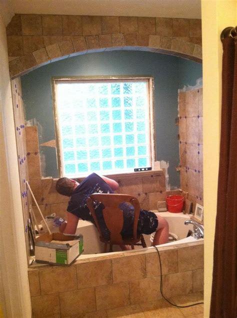small bathroom tile job  tiled archway diy